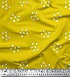 Soimoi Gelb Viskose Chiffon Stoff Punkt abstrakt Stoff