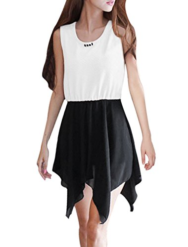 Damen Pullover Ärmellos Falsch Schmuck Dekor Unregelmäßig Saum Kleid Weiß