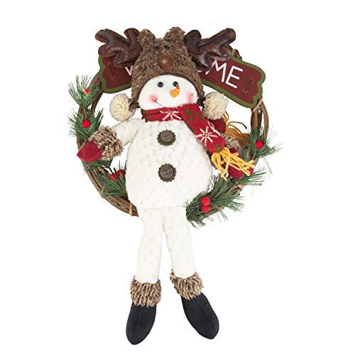 Art Beauty Guirnalda de Navidad 30 cm Muñeco de Nieve Puerta Guirnalda...