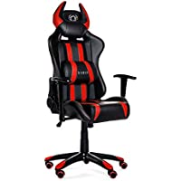 Diablo X-One Horn Gaming Chaise mécanisme d'inclinaison accoudoirs réglables Coussin Lombaire Cuir Artificiel sélection des Couleurs (Noir/Rouge), Plastique, 51 x 75 x 129 cm