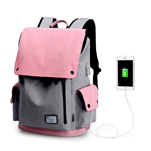 Wind Took USB Anschluss Laptop Rucksack Damen Herren Daypack Schulrucksack für 15,6 Zoll Notebook, Wasserabweisend, Rosa - Rosa Laptop-rucksäcke
