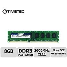 Timetec Hynix IC 8GB DDR3 1600MHz PC3-12800 No ECC sin buffer 1.35V / 1.5V CL11 2Rx8 Doble Rango 240 Pin UDIMM PC de escritorio de la computadora de la memoria RAM Módulo Upgrade (8GB)