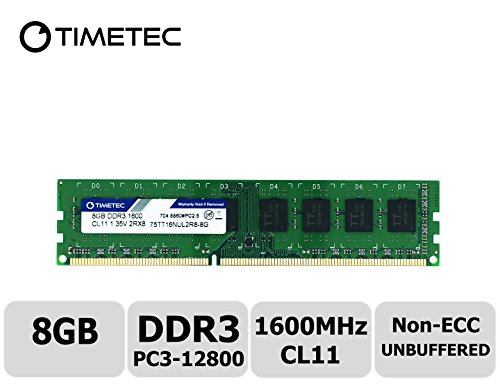 Timetec Hynix IC DDR3L 1600MHz PC3-12800 Unbuffered Non-ECC 1.35V CL11 1Rx8 Single Rank 240 Pin UDIMM Desktop Memoria Modulo Upgrade (8GB)