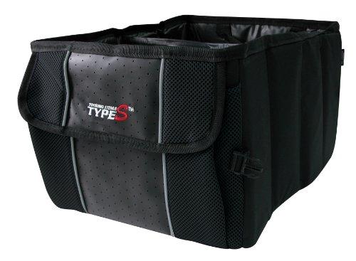 Kofferraumtasche, zusammenfaltbar, mit Trageschlaufen. Lederoptik mit Mesh, schwarz (Type S-Serie)
