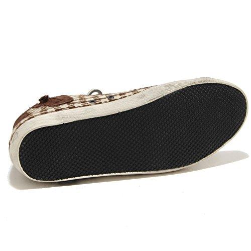 69425 sneaker D.A.T.E. TENDER HIGH FANTASY STUDS BROWN scarpa uomo shoes marrone/panna