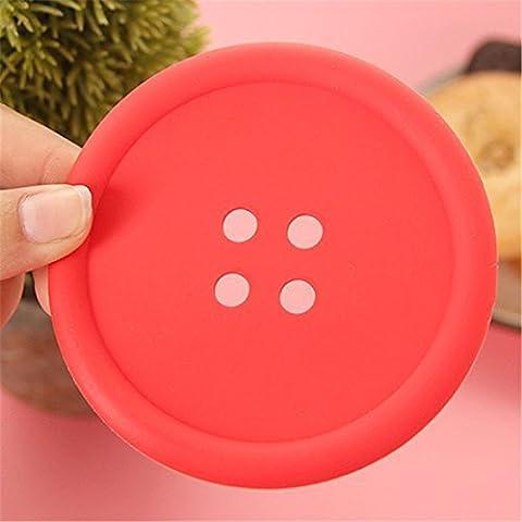 WOW Store dessous-de-verre à bouton Lovely button Shape PVC Cup Coaster/Colorful Mat rouge