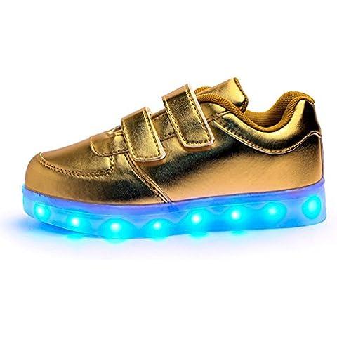 Moollyfox Niños 7 Colores LED Luz Glow Luminosos Light Up Sneakers
