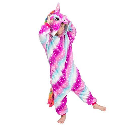 Reißverschluss Machen Kostüm Gesicht Sie - Unisex-Einhorn-Kinder-Strampler Verschiedene Designs-Pyjamas-Halloween-Cosplay-Kostüm Animal Home wear Onepiece Onesie (L Alter 7-8 Jahre, Himmel)