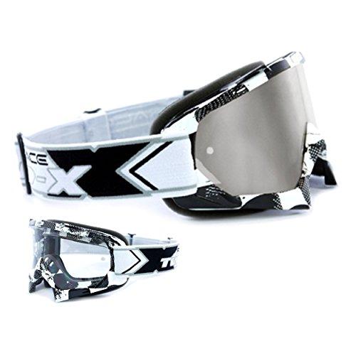 TWO-X Race Crossbrille Factory schwarz weiss Glas verspiegelt silber MX Brille Motocross Enduro Spiegelglas Motorradbrille Anti Scratch MX Schutzbrille