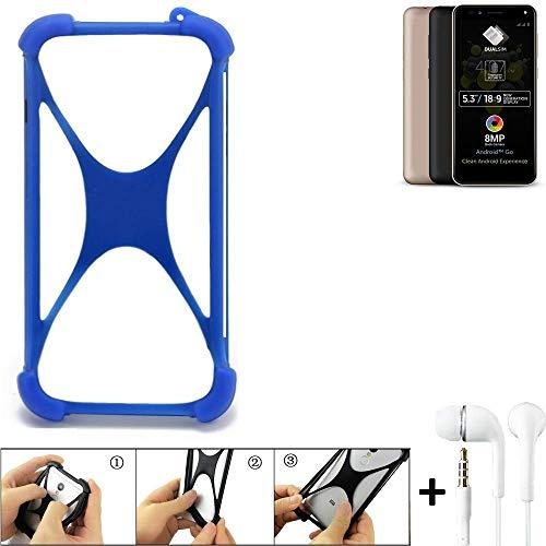 K-S-Trade Bumper für Allview A9 Plus Schutzhülle Handyhülle Silikon Schutz Hülle Cover Case Silikoncase Silikonbumper TPU Softcase Smartphone, Blau (1x), Headphones