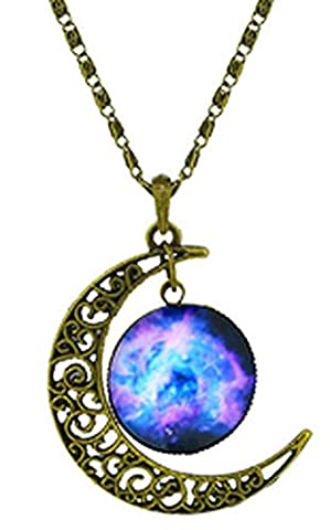SaySure - pendant necklace galactic moon star cosmic photo glass cabochon