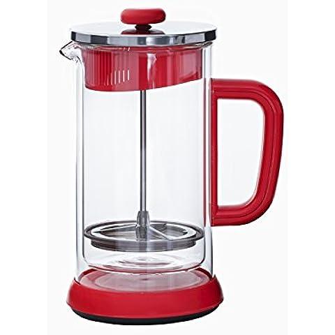 Idelice PR250 855A-Caffettiera a pistone, doppia parete, 8 tazze in vetro, colore: rosso, 17 x 12 x 21,5 cm - Pistone Parete