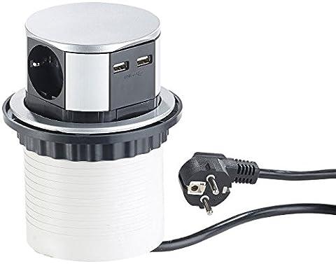 revolt Tischsteckdose USB: Versenkbare Einbau-Tisch-Steckdose, 3-fach mit 2x USB, rund, Ø 100 mm (Versenkbare Steckdosenleisten)