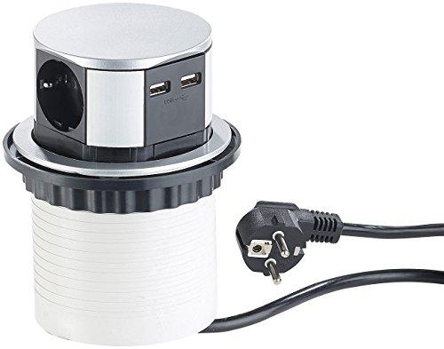 Preisvergleich Produktbild revolt Versenkbare Einbau-Tisch-Steckdose, 3-fach mit 2x USB, rund, Ø 100 mm