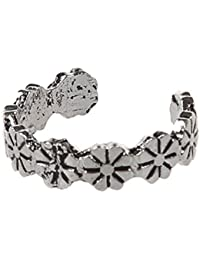 SLB Works 1pc Retro Flower Pattern Adjustable Toe Ring Foot Jewellery Antique Silver G1A2
