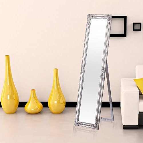 DRULINE Garderobenspiegel Ankleidespiegel Standspiegel Obama Silber Antik 160 x 40 cm