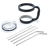 Morecome 30 Oz Stainless Steel Insulated Tumbler Mug Handle+ Straws+Cleaning Brush+Splash Proof Lid