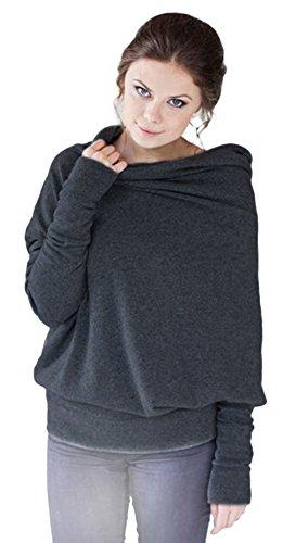 BELLA-Maglietta Donna Manica Lunga di Pipistrello Collo Alto Pullover Grigio Petto 120cm