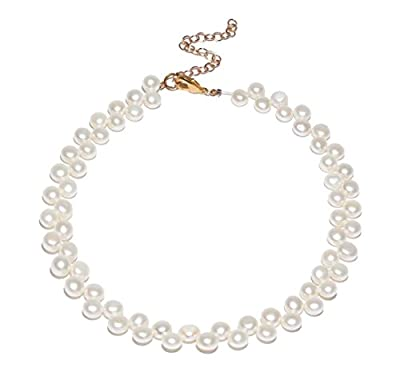 Lele Sadoughi Women's Checkered White Pearls Choker Necklace of Length 30.48 cm