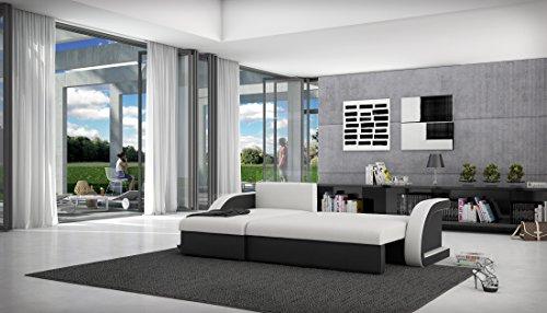 Eck-Sofa mit Schlaffunktion schwarz 238x136 cm L-Form | Cadico-L | Sofa-Garnitur aus Kunstleder mit Recamiere | Polster-Couch ausziehbar für Wohnzimmer schwarz 238 x 136cm - 3