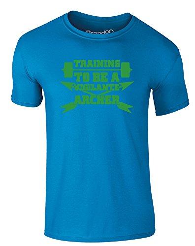 Brand88 - Training to be a Vigilante Archer, Erwachsene Gedrucktes T-Shirt Azurblau/Grün