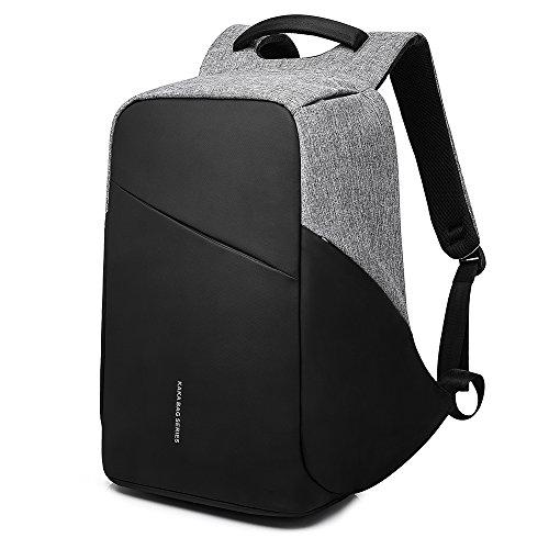 Mufubu präsentiert Kaka stilvoller Anti-Diebstahl-Laptoprucksack mit USB-Ladeanschluss und Sicherheitstaschen, Grau