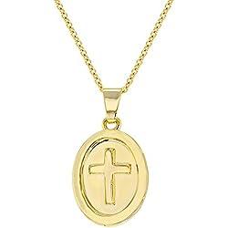 In Season Jewelry - Enfants - Croix Pendentif Collier - Plaqué Or 18k - Médaille Religieux - 40 cm