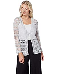 81ee4c58ab Roman Originals Women Long Sleeve Open Crochet Lace Cardigan Shrug - Ladies  Short Knitted Shrugs and