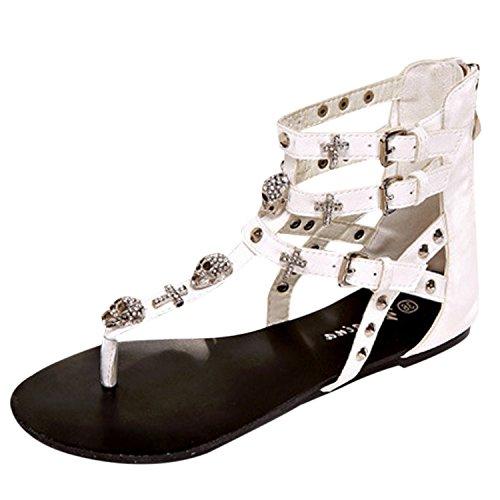 Oasap Women's Buckle Back Zip Flat Thong Sandals Black
