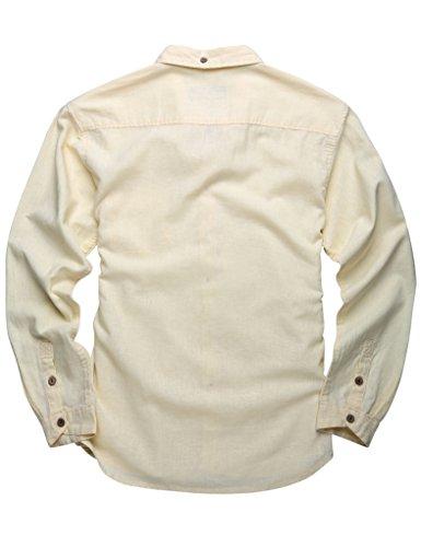 Match Herren Slim Fit Langarm Hemd Leinen Freizeit #2011 2011 Ivory