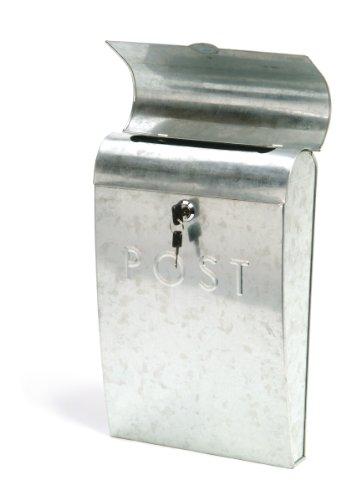 Giardino Trading zincato cassetta in acciaio, 37 x 24 x 8 cm, con serratura, argento