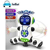 FunBlast Dancing Robot with Music, 3D Flashing Lights, Dancing Naughty Robot for Kids, Battery Operated,360 Degree Rotation