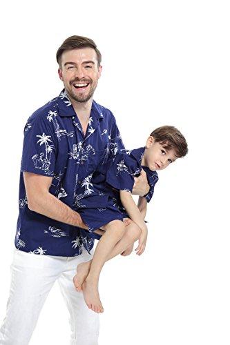 Passender Vater Sohn Hawaiianer Luau Ausstattung Männer Hemd Jungen Shirt Kurz Marine Klassischer Flamingo M-8