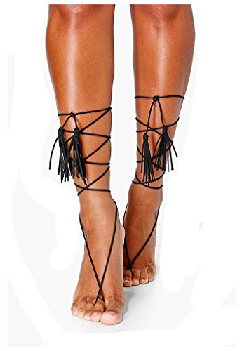 Bishiling Fußschmuck Boho Damen Fußkette mit Quaste Schwarz Kette Fussketten für Frauen (Fußkettchen Pinguin)