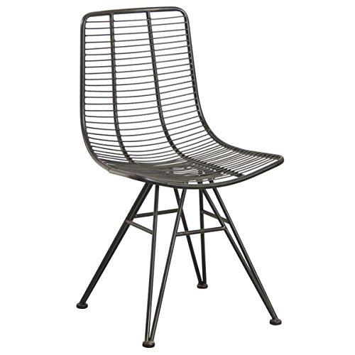 PEGANE Chaise en métal noir antique - Dim : 50 x 57 x 86 x H 47 cm