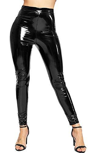 Black Vinyl Pants (Prettymake Ladies Vinyl Shiny Wet Look Disco Legging Womens High Waist Party Wear Pants Black)