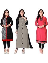 Hari enterprise Women's Cotton Semi-stiched Kurti(M-21_Multicolour_46) - Pack of 3