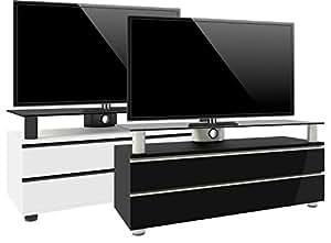 VCM 14255 Dasano Meuble TV avec 2 Tiroirs + 1 Plaque + Roulettes Incluses MDF/Aluminium/Verre Laqué Noir/Noir