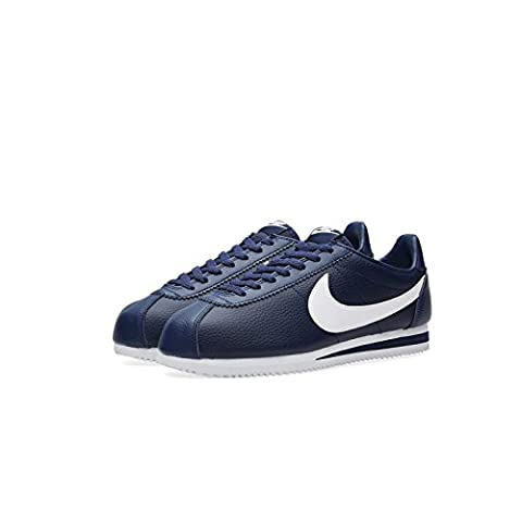 Nike Men's Classic Cortez Leather Running Shoes, Blue (Midnight Navy / White), 8 UK