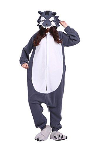 Imagen de darkcom  disfraz de animal unisex para adulto sirve como pijama o cosplay sleepsuit de una pieza lobo gris