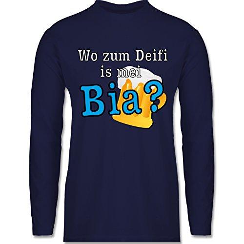 Shirtracer Après Ski - Wo Zum Deifi is MEI Bia? - Herren Langarmshirt Navy Blau