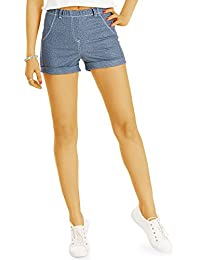 Bestyledberlin Damen Mini Shorts, High Waisted Hotpants Jeggings Style j53i-1