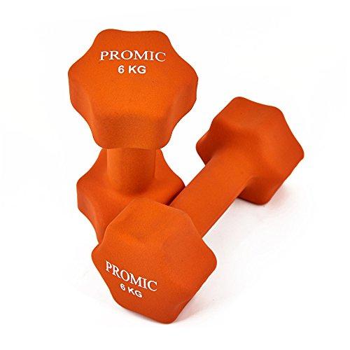 PROMIC  Neopren Hanteln Gewichte für Gymnastik Kurzhanteln- ideal für Aerobic & leichtes Fitnesstraining, 13 verschiedene Gewichte und Farben zur Auswahl (2er-Set), 2 x 6 kg, Orange - 4