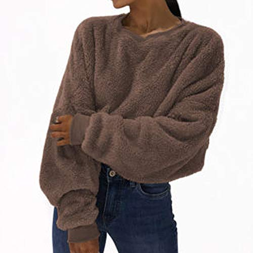 Felicove Damen Herbst Winter Langarmshirt Pullover Teddy-Fleece Mantel Sweatshirt Mit Mode Fur Fluffy Hoodie Cropped Tops Jumper Plüschmantel Fleece-cropped Pullover