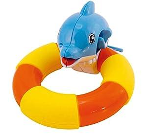 BIECO 19001508 Happy Delphin - Delfín con Anillo para bañera, Juguete para agarrar y Girar para niños a Partir de 18 m