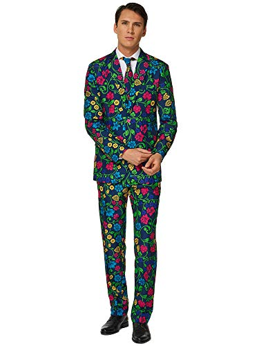 Suitmeister Faschingskostüme für Herren - Mit Jackett, Hose und Krawatte mit Festlichen Print, Floral XXL