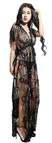 Czj-Innovation Sexy Lingerie longue Robe en dentelle Bikini Cover Up