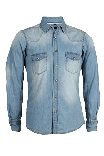 Sky camicia jeans thor silver wash slim fit, xl