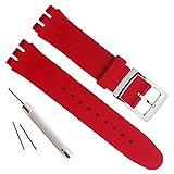 Versilberte Edelstahlschnalle mit wasserdichtem Uhrenarmband aus Silikonkautschuk (19mm, Red)