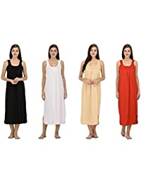 Ishita Fashions Cotton Gown Slip - Cotton Nighty - 4 PCs - Black, White, Skin, and Red